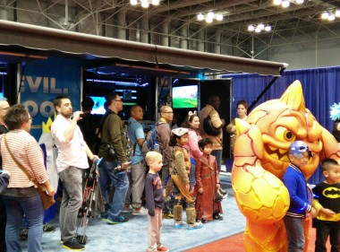Attendees lining up to play Skylanders: Swap Force at the Activision booth